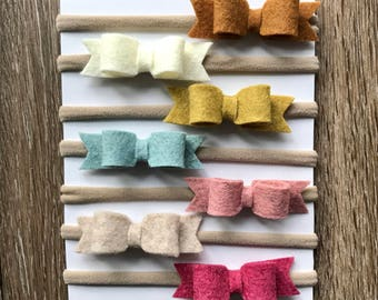 Felt & Nylon Bow Headbands - Perfect For Newborn Pictures - Hair Bows And Nylon For Your Baby