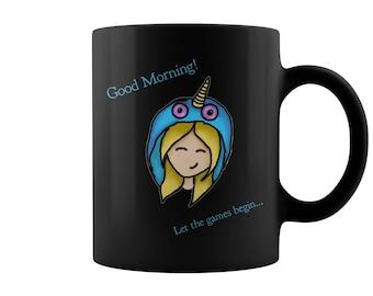 Anime Ceramic Coffee Mug - Good Morning Let The Games Begin - Bleunicorn