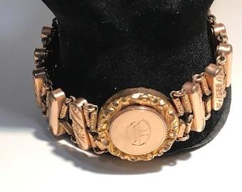 Sweetheart Bracelet Goldtone Expansion Monogram Jewelry Vintage 1905