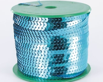 sequin Ribbon 6 mm by 5 m turquoise sequin trim