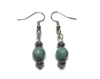 Genuine Blue Jasper bead earrings, under 10, teacher gift, drop earrings, blue stone earrings, gift for her, nickel free, christmas gift