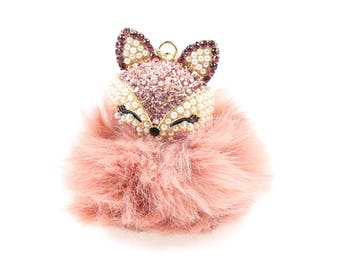 Swarovski fox keychain, planner pendant.