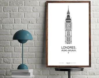 """BigBen - """"London, my love."""" - Print/Poster/Print A3"""