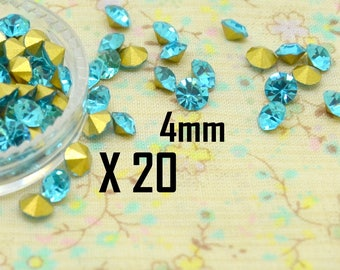 20 x tapered cone faceted Crystal rhinestone cabochon turquoise bicone 4mm round