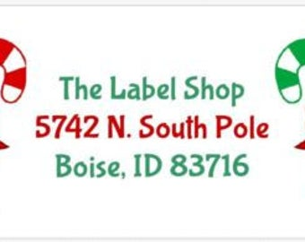 30 Customized Cute Christmas Candy Cane Party Address Labels! ANY info you want!
