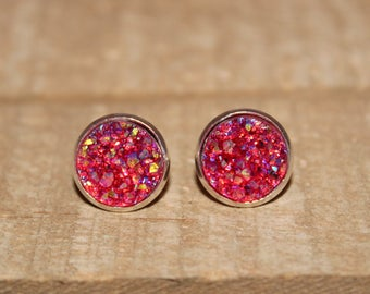 Pomegranate Druzy Earrings - 12mm