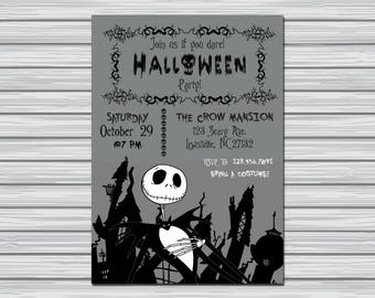 Nightmare Before Christmas Halloween party invitation, halloween party, halloween invitation, custom halloween invitation, Jack Skellington