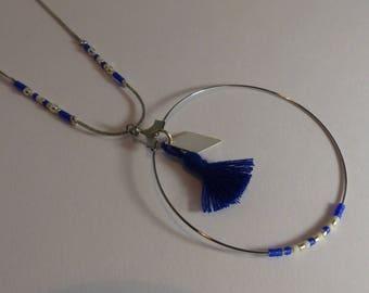 Circled pompom and diamond necklace