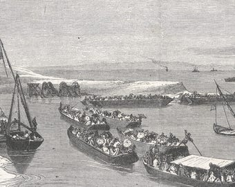 Return of the Pilgrims from Mecca, through the Isthmus of Suez, Egypt 1869 - Old Antique Vintage Engraving Art Print - Ship, Roofs
