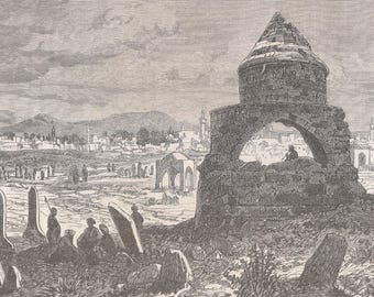 Armenia 1876, Erzurum, Old Antique Vintage Engraving Art Print, Building, Town, Cupola, Arch, Man, Sitting, Smoking, Grass, Rock, Dome