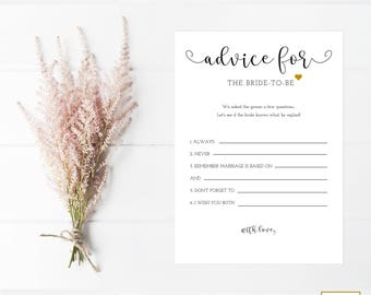Advice For The Bride Cards, Bridal Shower Games Printable Editable, Wedding Shower Games, Instant Download Template, Bridal Shower Templates
