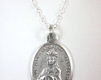 """Our Lady of La Salette Medal Pendant Necklace 20"""" Chain Gift Box Prayer Card"""