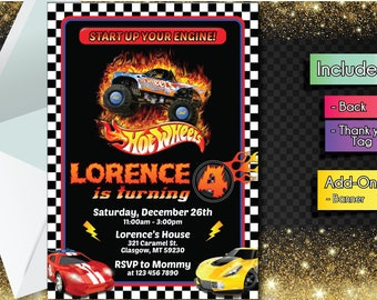 Hot Wheels INVITATION with FREEEE Thank you card! Hot Wheels Party Invitation, Birthday Banner