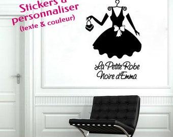 """Sticker mural personnalisable """"La Petite robe noire"""" -  texte à personnaliser - pour une décoration unique et originale"""