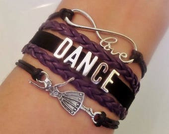 Dance bracelet, Dancer gift, Gift for Dancer, Dance Teacher gift, Coach jewelry, Dance Music jewelry, Dancing jewelry, Black/Purple