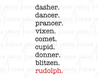 Reindeer Names svg   Rudolph The Red Nosed Reindeer svg   Rudolph svg   Christmas svg   SVG   DXF   JPG   cut file