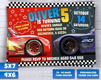 Cars 3 Invitation, Cars Party Invite, Lightning Mcqueen Printables, New Cars Movie, Printable Invitations, Cars Race Invites,Cars Invitation
