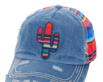 Blue Denim Cactus Rainbow Baseball Cap - Fully Adjustable One Size Fits All - Made In USA