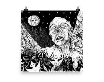 """A Midnight Walk 12""""x12"""" Art Print"""