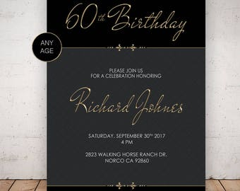 60th Birthday Invitations. Gold Invitations. Birthday Invitations for Men.  Any Age Invitations. Custom Birthday Invitation.