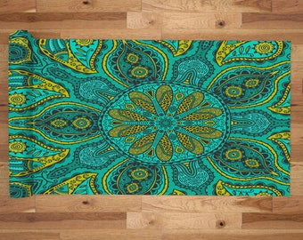 Yoga Mat with Carry Bag - Pilates Mat - Yoga gift for him/her - Thick Yoga Mat - Exercise Mat - Green Mandala Flower