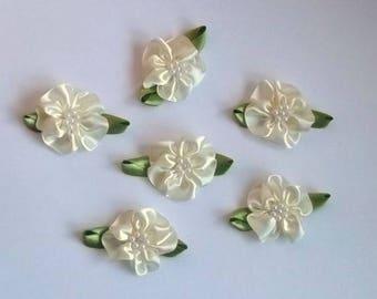 set of 6 ivory flowers