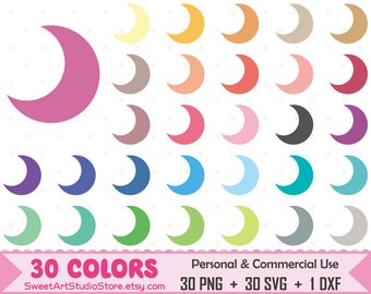 Moon Clipart, Moon planner SVG Silhouette Cricut Cut File Commercial Use (Png Svg Dxf)