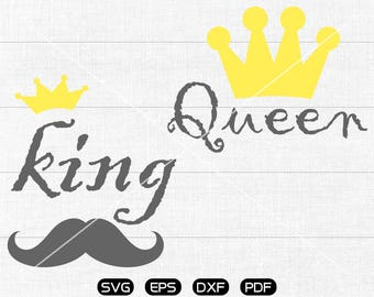 King SVG File, Queen SVG, King Queen Clipart, cricut, cameo, silhouette cut files commercial & personal use