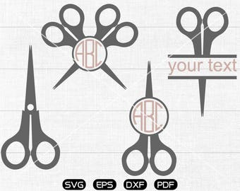 Scissors Svg, Scissors Clipart, Monogram Frame cricut, cameo, silhouette cut files commercial & personal use