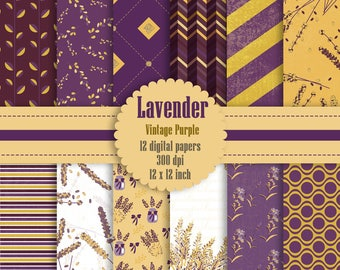 12 Lavender Digital Paper in Vintage Purple Color 12 inch 300 Dpi Instant Download, Purple Papers, Scrapbook Papers, Digital Scrapbooking