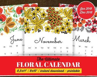Floral Calendar, Calendar 2018 Printable, Printable Calendar 2018, Calendar 2018 Wall -Printable, Floral Calendar Printable