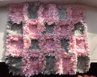 """Sleeping Kittens Minky Rag Quilt Lovey / Pink and Grey / Baby Shower / 15"""" x 17"""" / FREE SHIPPING"""