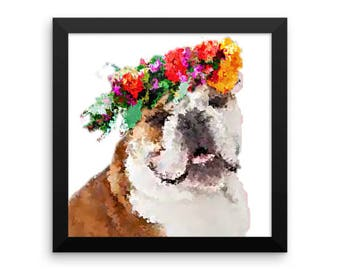 Framed Watercolor Style Bulldog Poster