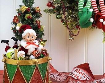 "Raz Imports 18"" Drum with Elf ""Santa Supply Collection"" RAZ3715507"