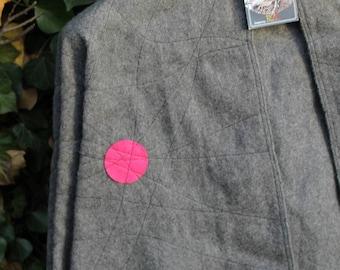Cape gray fuchsia wool hood