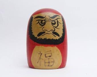 Vintage Tsuchiyu Traditional Daruma Kokeshi Doll.Kenichi Nishiyama.Japanese Folk Art.Wooden Craft.#drm16