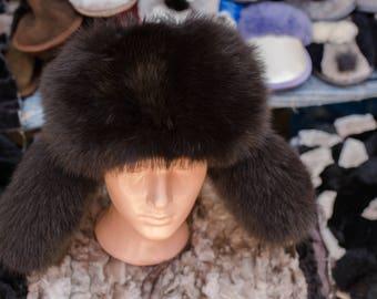 man's cap from polar fox