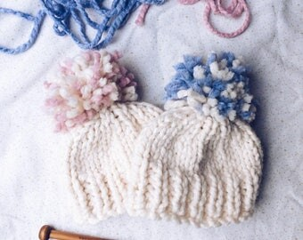Knitted Bobble Hat; Chunky Wool