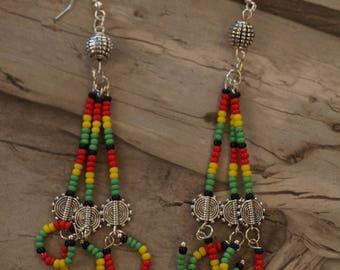 ethnic earrings Tibetan silver long Rasta 10 cm