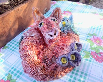 Ceramic fox and bird Centerpiece