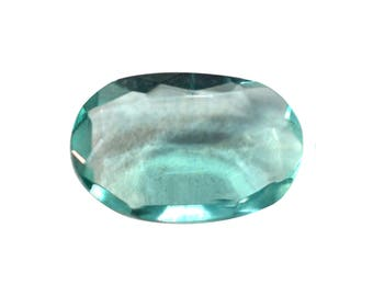 Fluorite Natural Green Fluorite Rose Cut Polki Both Side Faceted 2.40 cts 7x11 mm For Designer Jewelry 3904