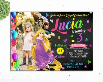 Customizable- Princess Rapunzel Invitation, Princess Birthday Invitation, Birthday Invitations for Girls,TangledInvites,Digital, Aladdin