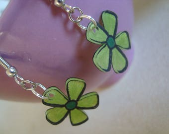 Fancy crazy plastic Green Flower Earrings