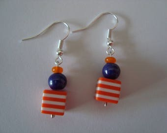 Earrings blue and Orange