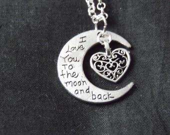 Moon & Back double charm necklace