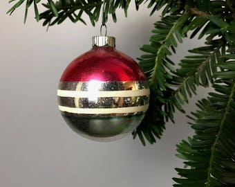 2 Vintage Shiny Brite Metallic Glass Ornaments With Painted Stripes