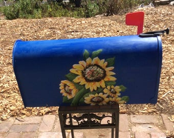 Hand painted metal mailboxes ordered your color, sunflowers , hydrangeas roses cottage your style, your desires, your information