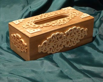 With decorative carved wooden rectangular tissue box
