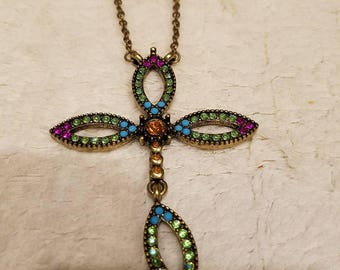 vintage rhinestone cross necklace by sven