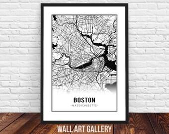 Boston map - Boston city map - Boston poster - Boston print - Home decor - Boston wall art - digital download - Boston house warming gift